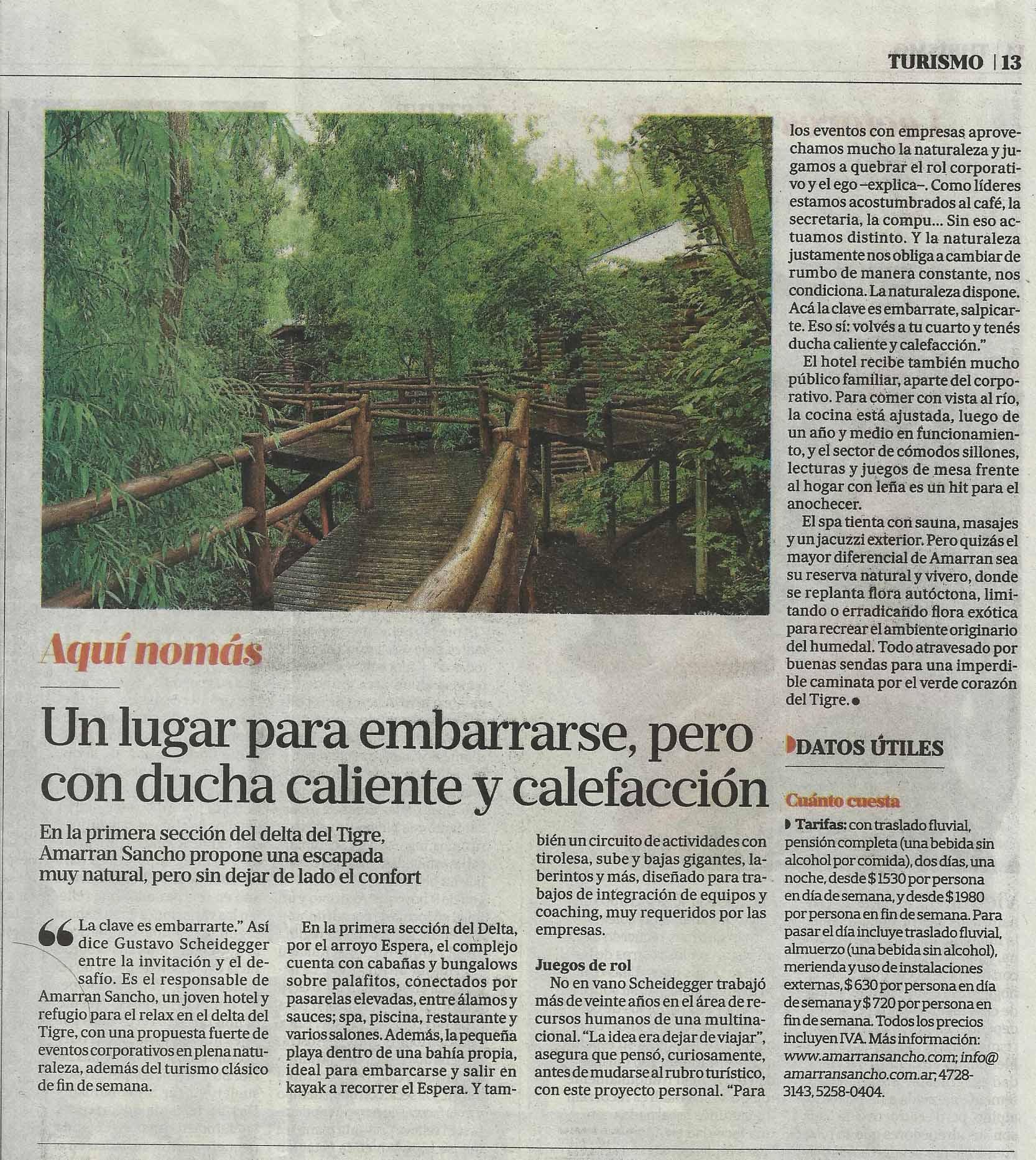 La Nación Turismo Amarran Sancho