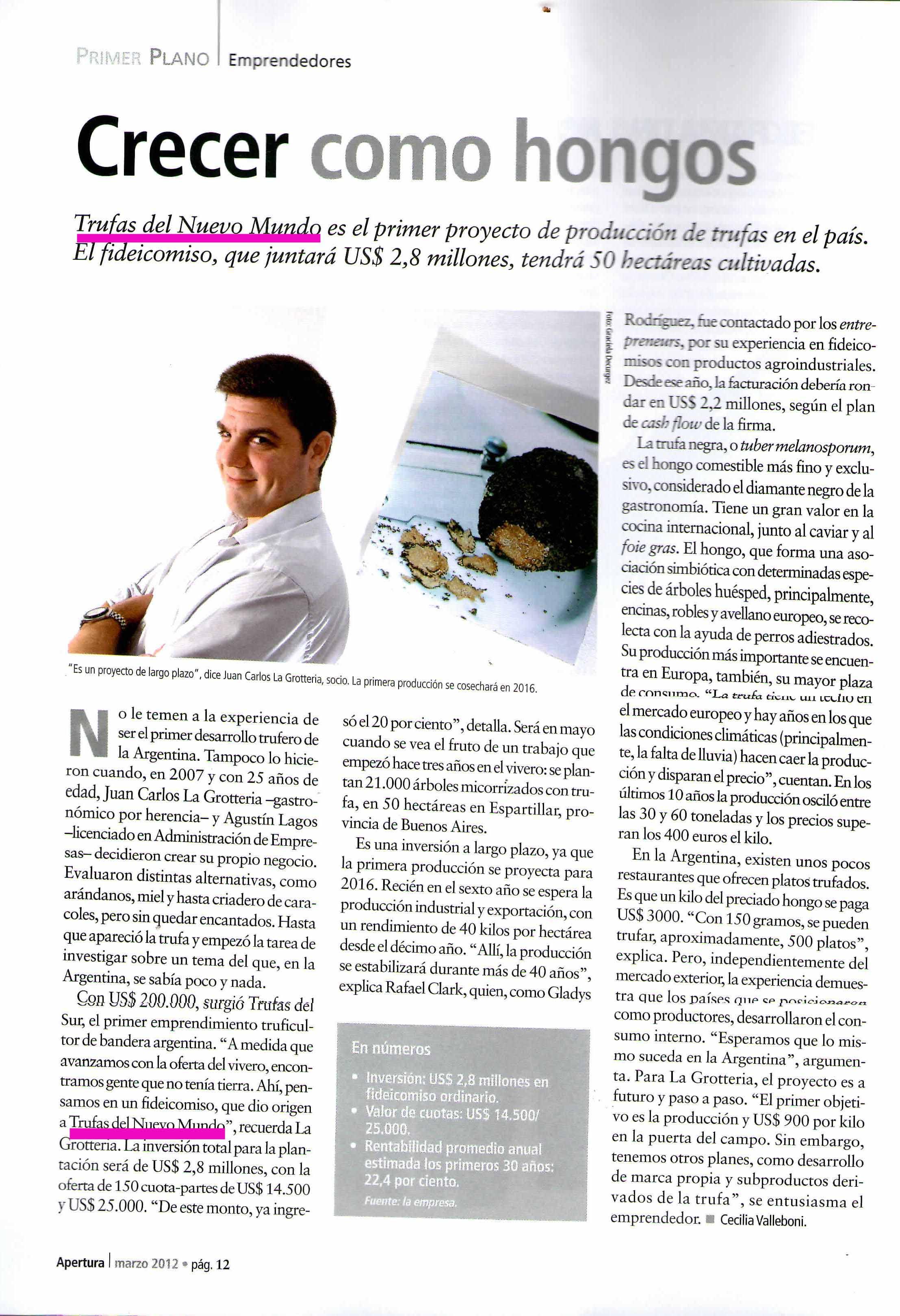 Revista Apertura- Trufas del Nuevo Mundo
