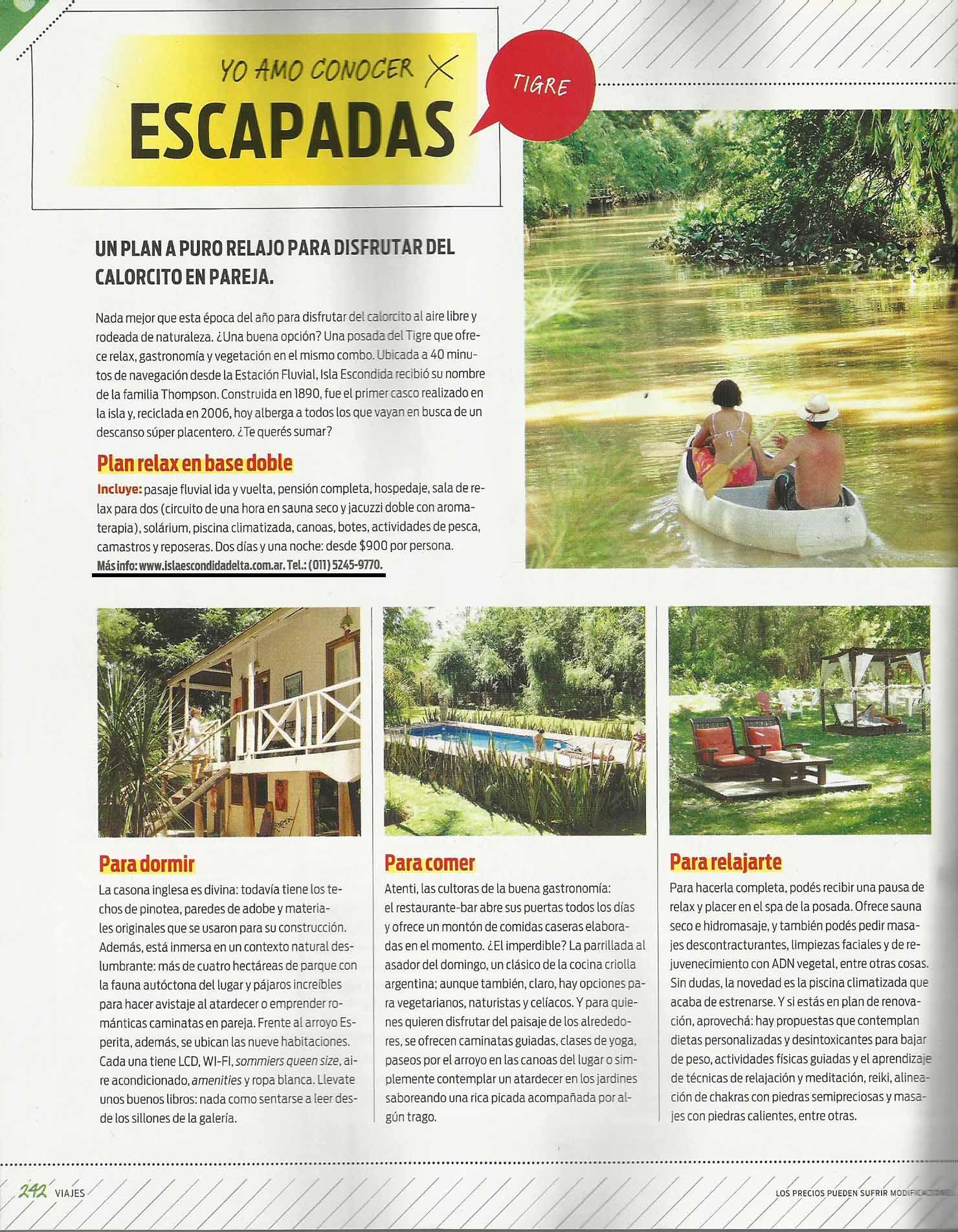Revista Ohlalá- Posada Isla Escondida